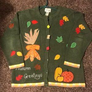 Green autumn sweater.